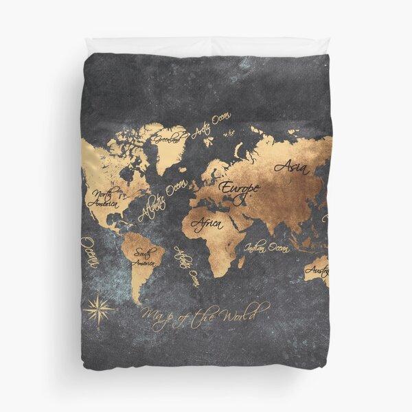 world map 147 gold black #worldmap #map Duvet Cover