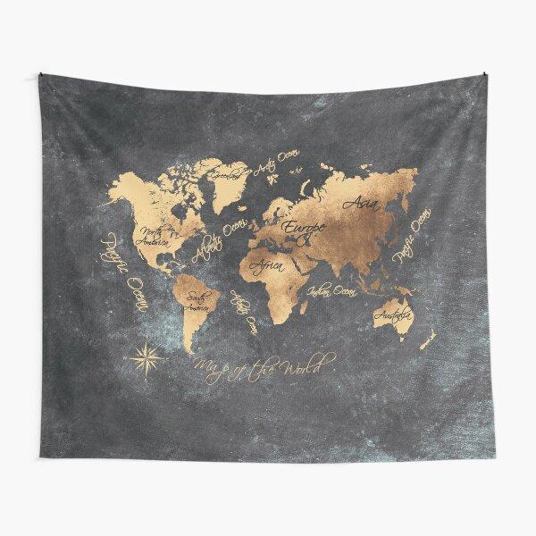 world map 147 gold black #worldmap #map Tapestry
