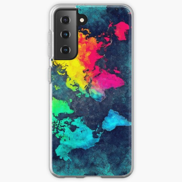 world map colors #map #world Samsung Galaxy Soft Case