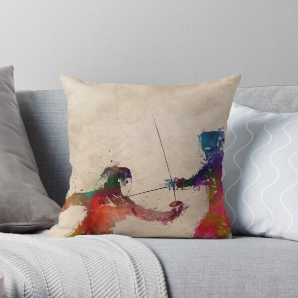 Fencing sport art #fencing Throw Pillow
