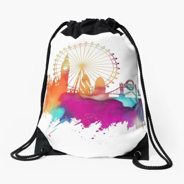 London skyline watercolor Drawstring Bag