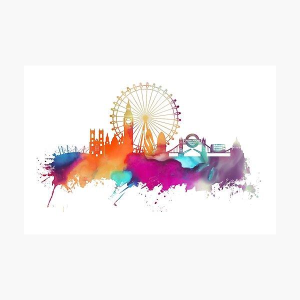 London skyline watercolor Photographic Print