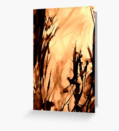 flame engulfed... inferno down in the valley Greeting Card