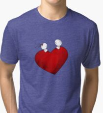 Sitting on a big & Lovely Red Heart - T-Shirt Tri-blend T-Shirt