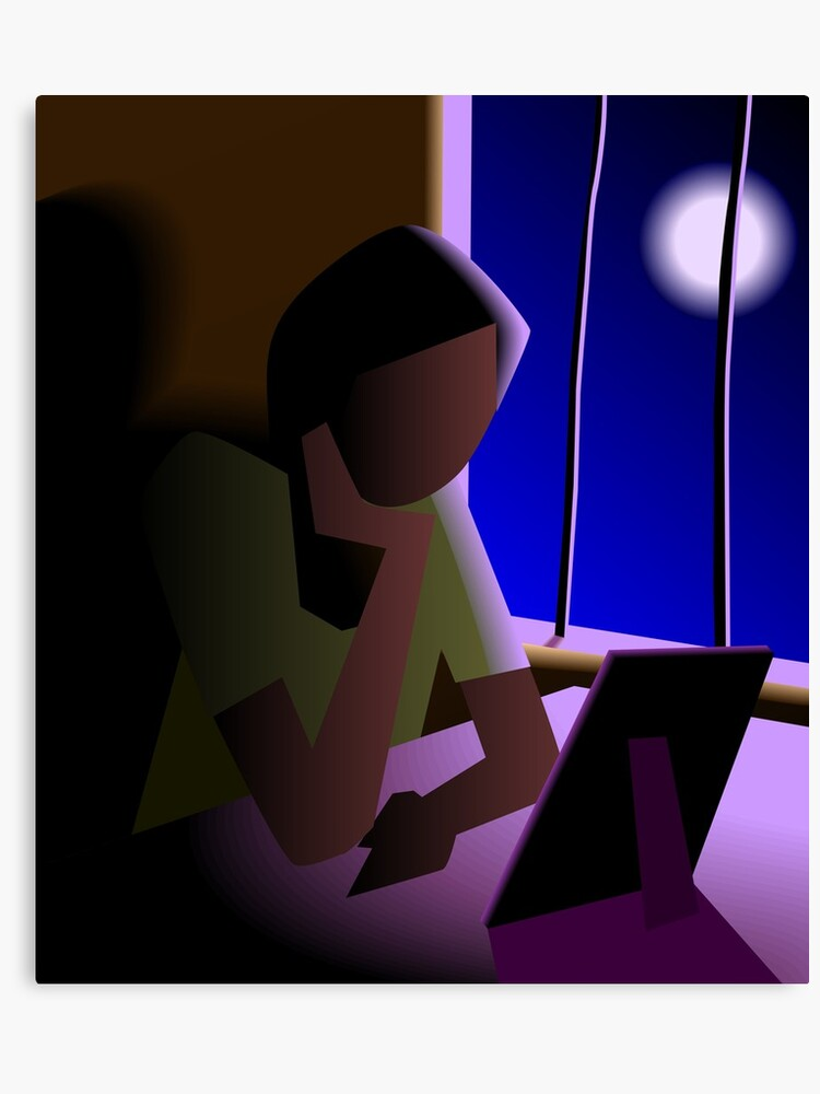 Digital Painting Of Girl Sitting Alone Canvas Print