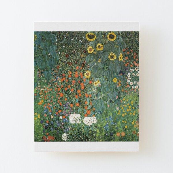 Bauerngarten mit Sonnenblumen Impression montée sur bois