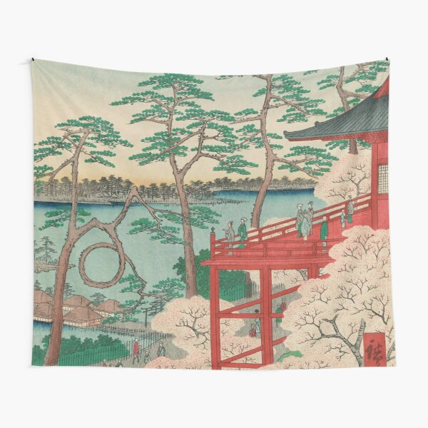 Spring Blossoms and Pond Ukiyo-e Japanese Art Tapestry