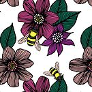 Bright Floral Pattern with Bees by julieerindesign