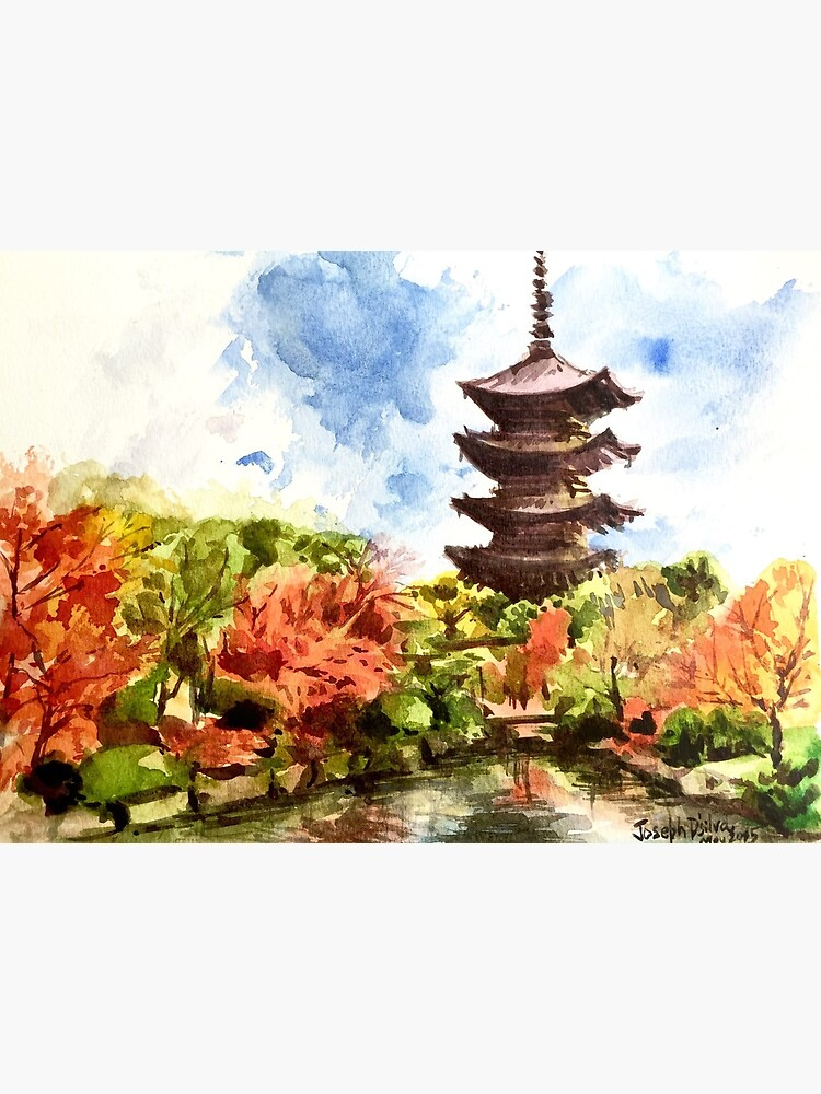 Kyoto Japanese Garden And Temple Art Board Print By Thejoeystudio