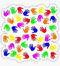 many hands Glossy Sticker