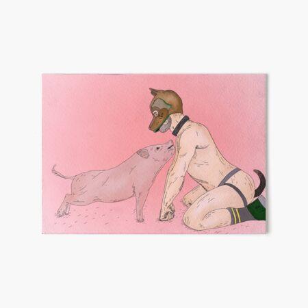 Pig and a Pup - Gay Human Pup Art Board Print
