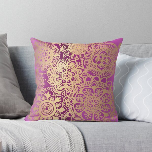Pink and Gold Mandala Pattern Throw Pillow