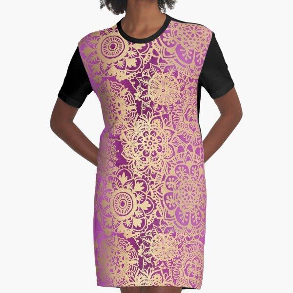 Pink and Gold Mandala Pattern Graphic T-Shirt Dress