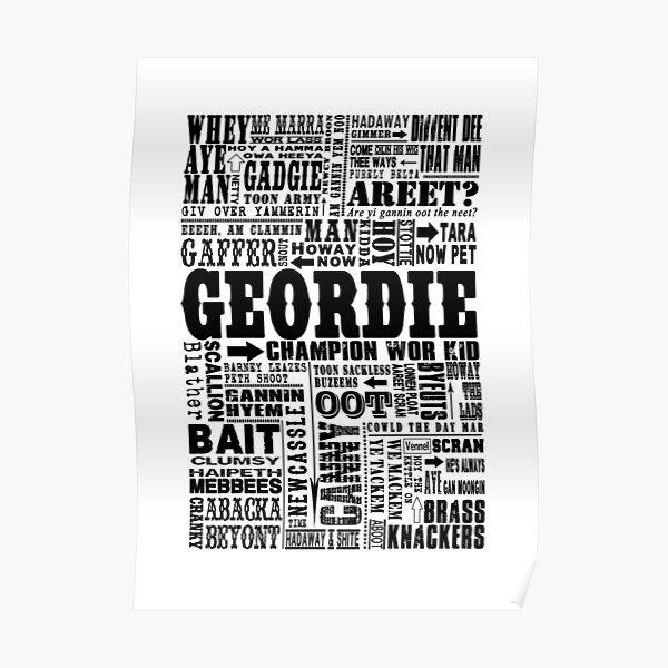 Geordie Sayings Print Black Poster