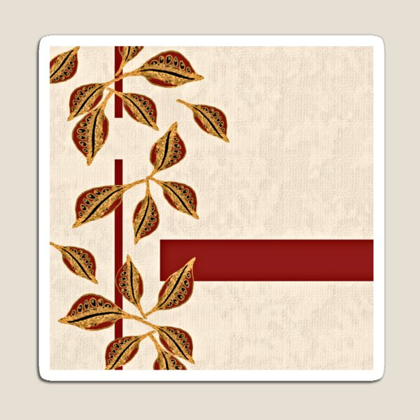 Minimal Red and Gold Neutral Seed Pods Leaves Nature Print Magnet