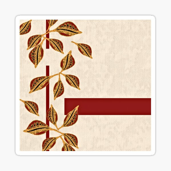 Minimal Red and Gold Neutral Seed Pods Leaves Nature Print Sticker
