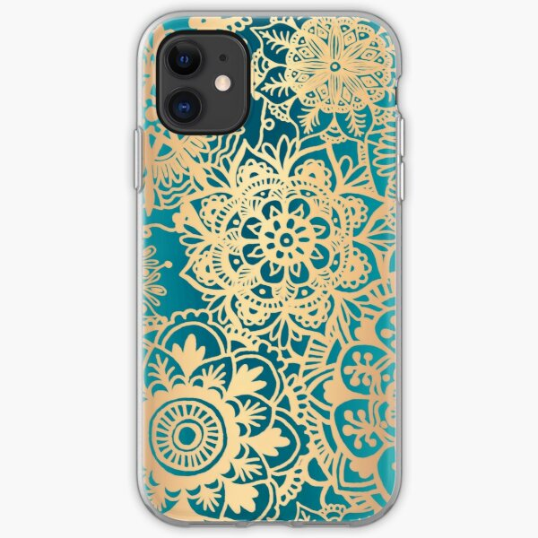 Teal Green and Gold Mandala Pattern iPhone Soft Case
