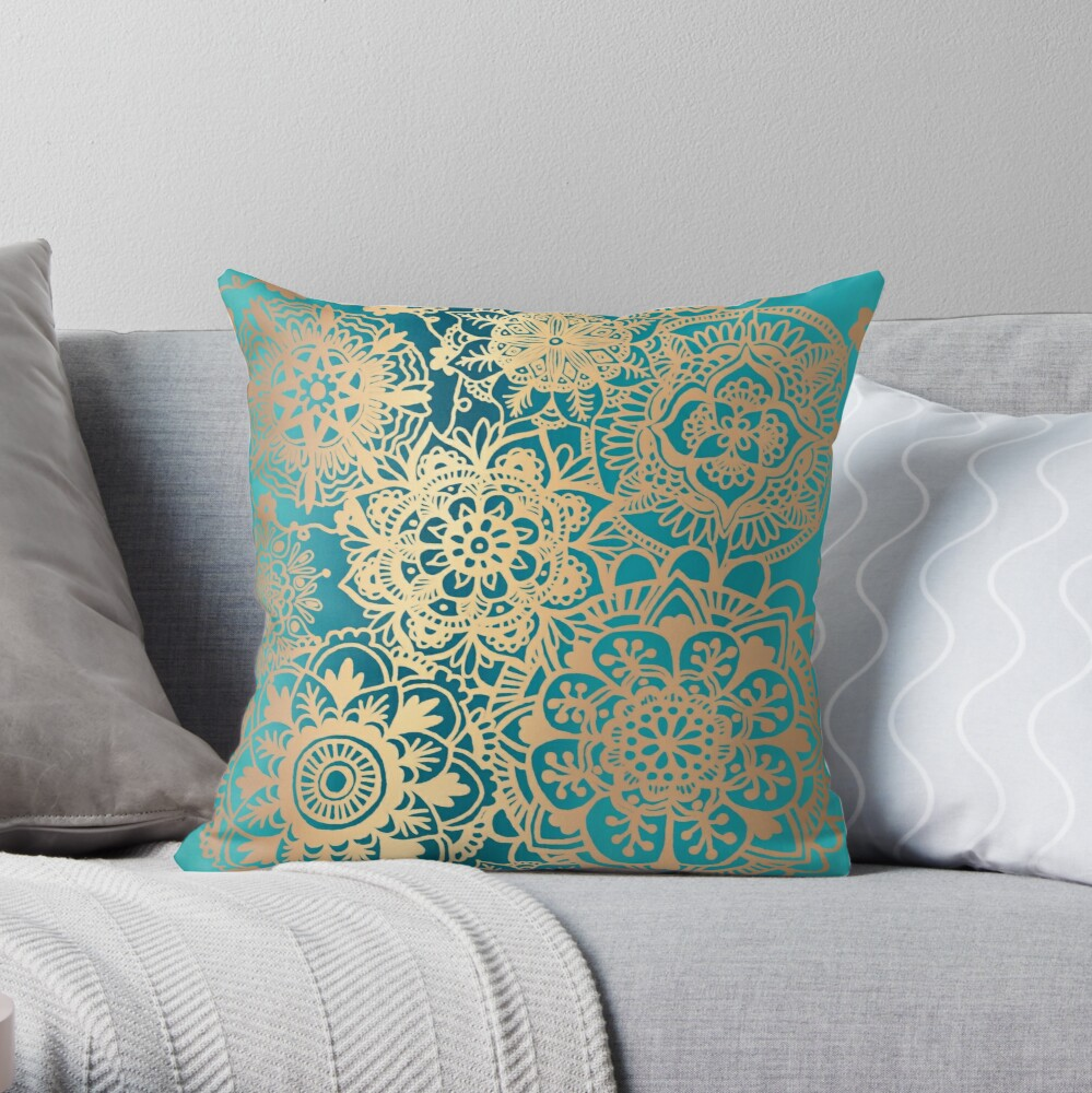 Teal Green and Gold Mandala Pattern Throw Pillow