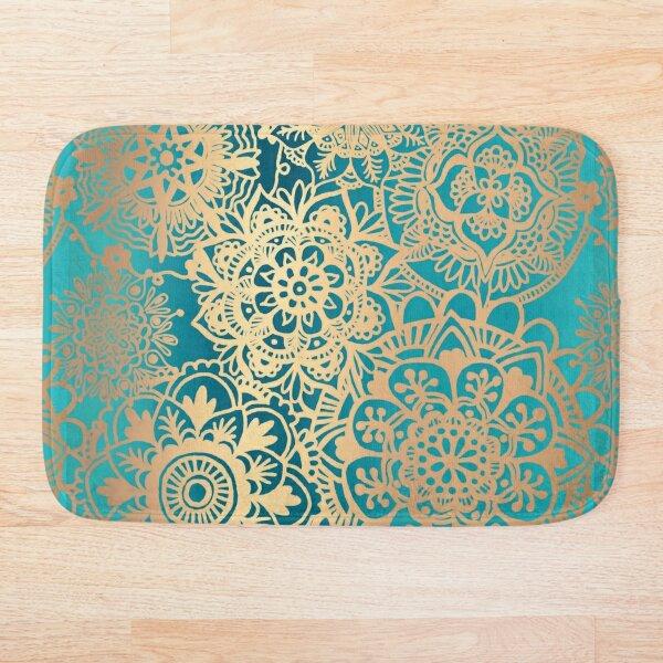 Teal Green and Gold Mandala Pattern Bath Mat