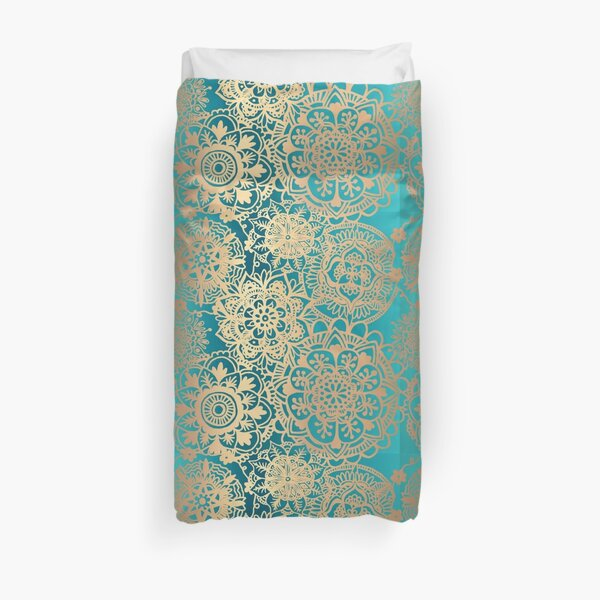 Teal Green and Gold Mandala Pattern Duvet Cover