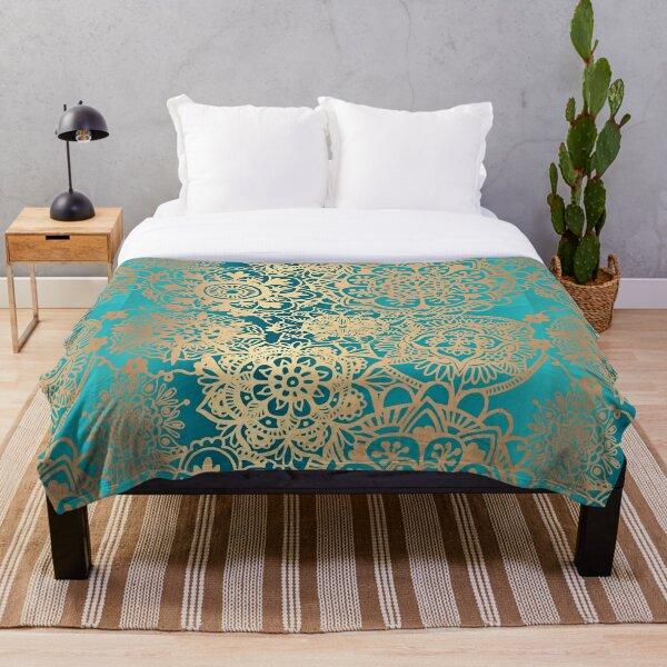 Teal Green and Gold Mandala Pattern Throw Blanket