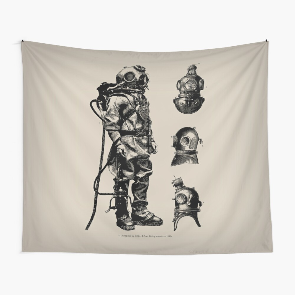 Vintage Deep Sea Diver | Nautical |  Wall Tapestry