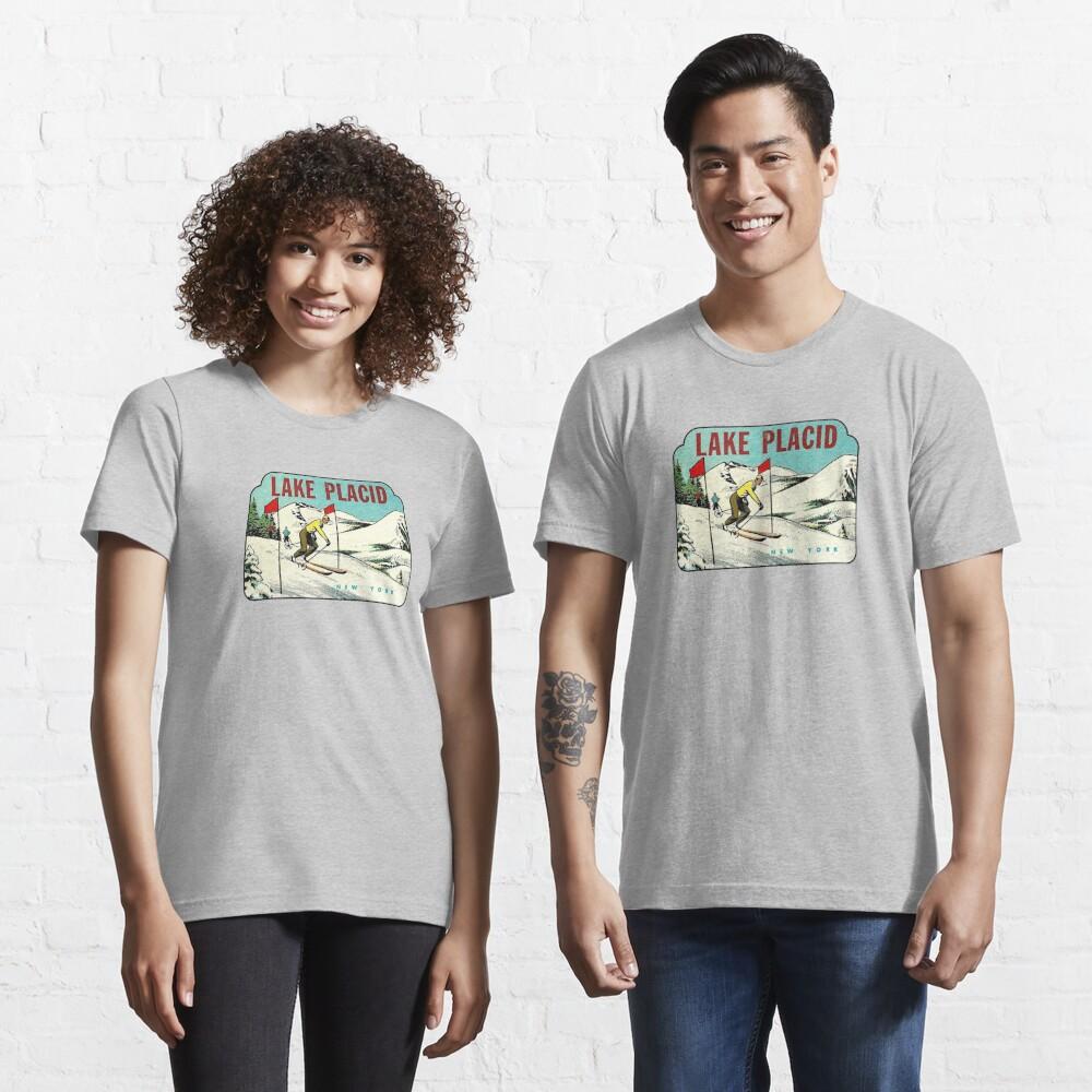 Skiing Lake Placid NY Vintage Travel Decal T-Shirt