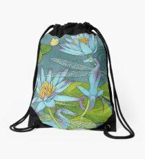 Dragonflies and Lotus Drawstring Bag