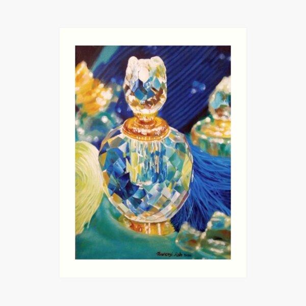 Perfume bottles and Silk shawls Art Print