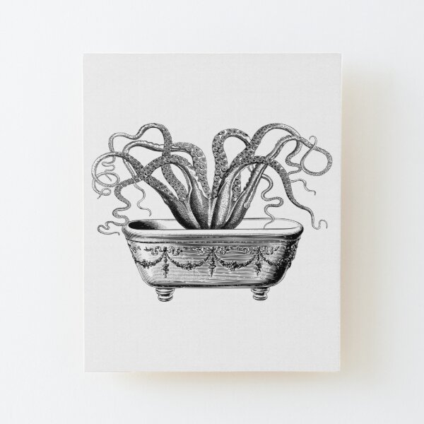 Tentacles in the Tub   Octopus in Bathtub   Vintage Octopus   Black and White    Wood Mounted Print