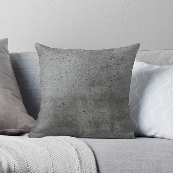 Grey textured concrete wall exterior Throw Pillow
