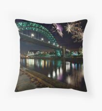 Tyne Bridge Fireworks, Newcastle upon Tyne, UK Throw Pillow