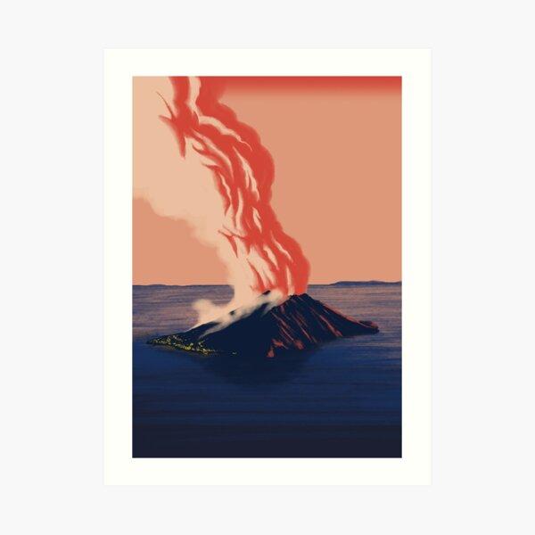 Stromboli on fire Art Print