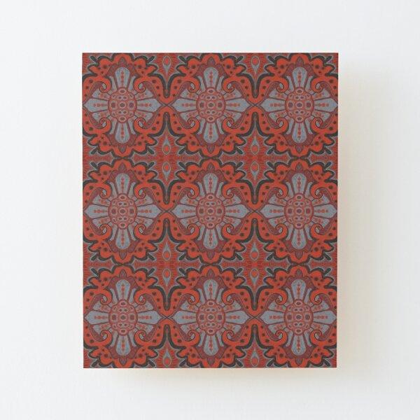 Sliced Pomegranat, Bohemian Pattern, Terracotta Grey Wood Mounted Print
