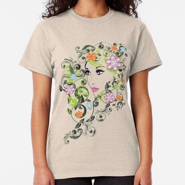 Grunge Summer Girl with Floral 5 Classic T-Shirt