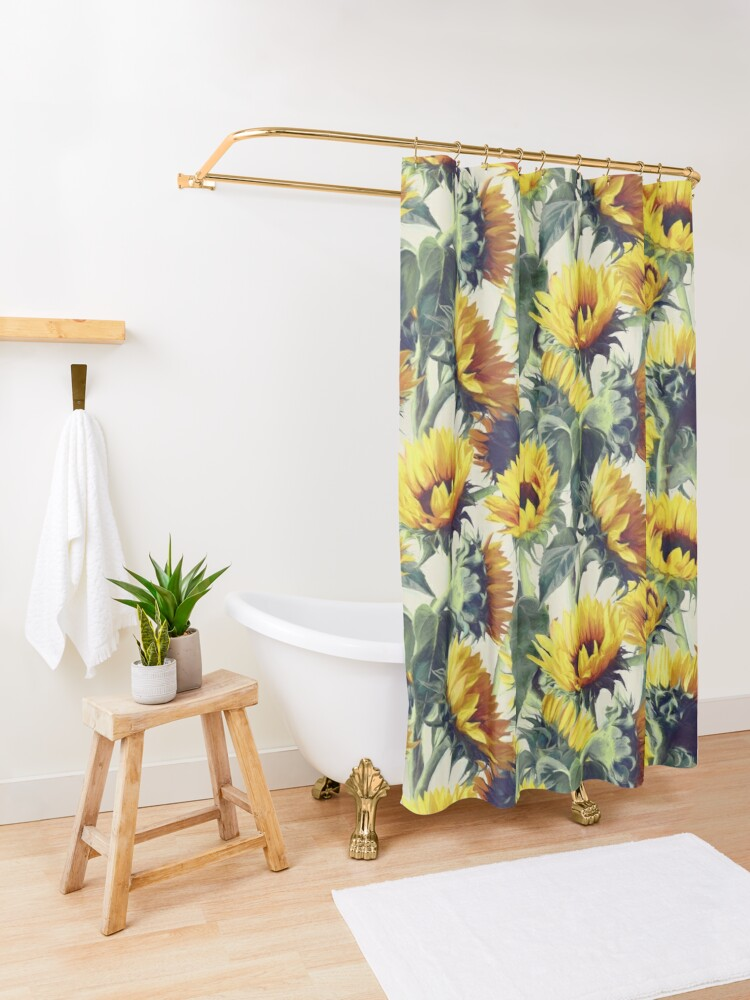 Alternate view of Sunflowers Forever Shower Curtain