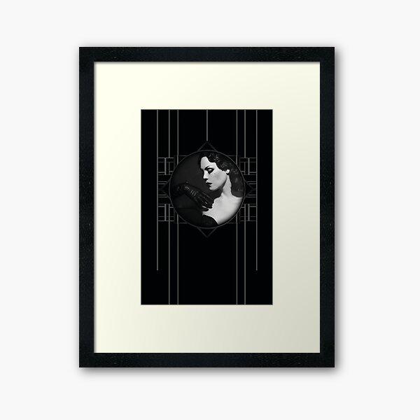 Burlesque Vintage Portrait Xarah in Art Deco Frame on Black Iconic Old Hollywood Photography Framed Art Print