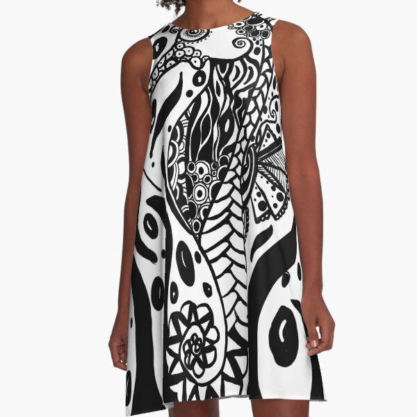 Seepferdchen Schwarz Weiss A-Linien Kleid