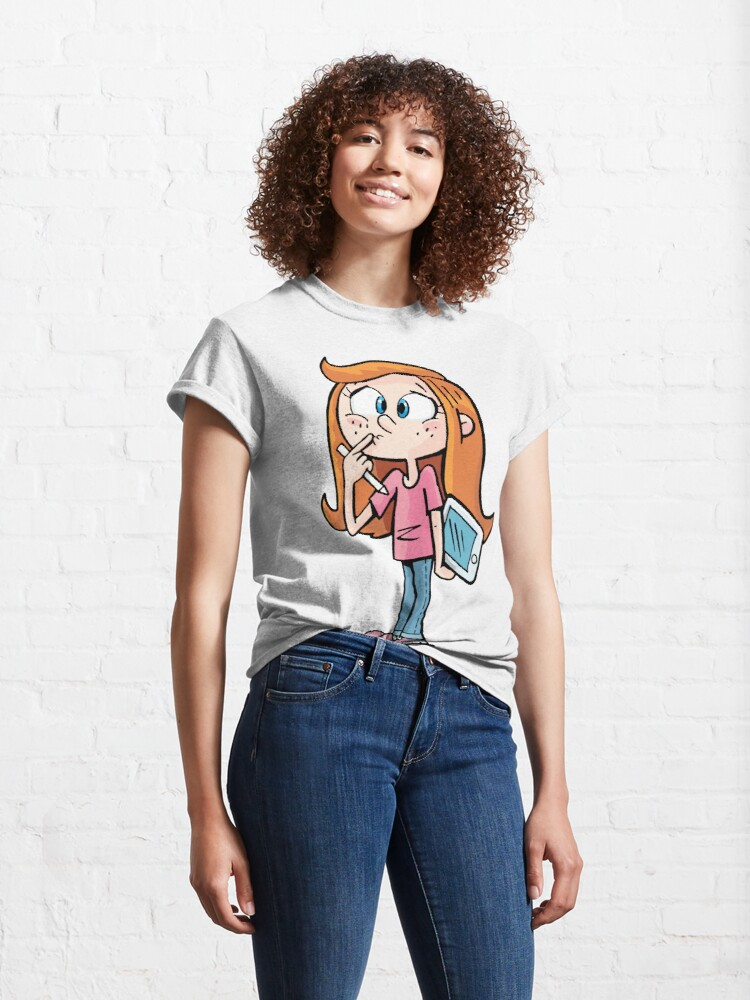 Alternate view of confused girl with a tablet has no inspiration Classic T-Shirt