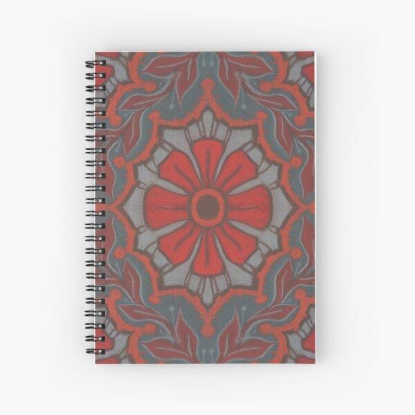 Scarlet Flower, Floral Arabesque Pattern Grey Red Orange Spiral Notebook