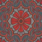 Scarlet Flower, Floral Arabesque Pattern Grey Red Orange by clipsocallipso