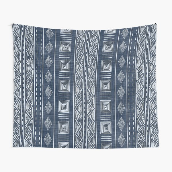 Mudcloth Navy Blue and White Vertical Tribal Pattern Tapestry