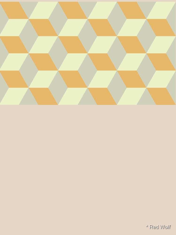 Geometric Pattern: 3D Cube: Tan/Orange by redwolfoz