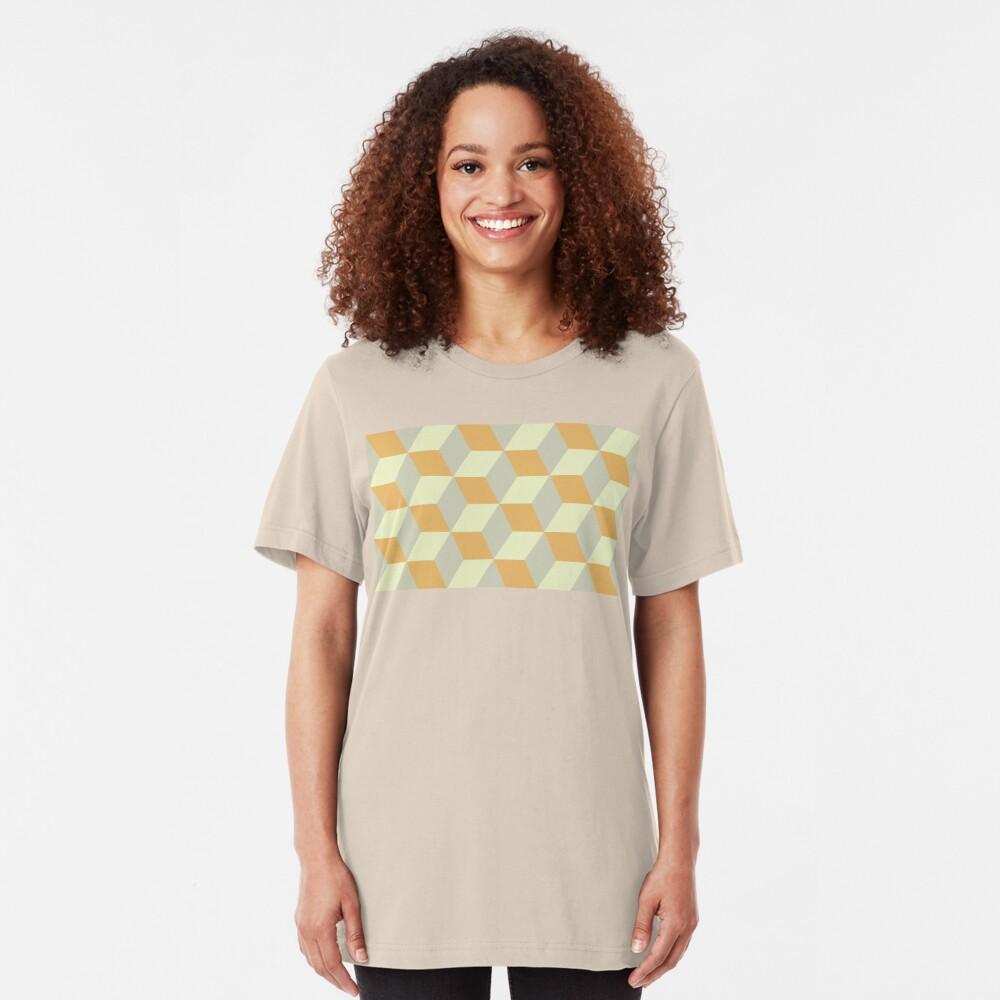 Geometric Pattern: 3D Cube: Tan/Orange Slim Fit T-Shirt