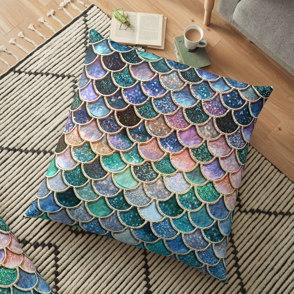Teal, Silver and Pink Sparkle Faux Glitter Mermaid Scales Floor Pillow