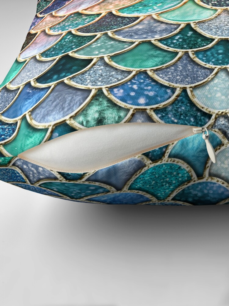 Alternate view of Teal, Silver and Pink Sparkle Faux Glitter Mermaid Scales Floor Pillow