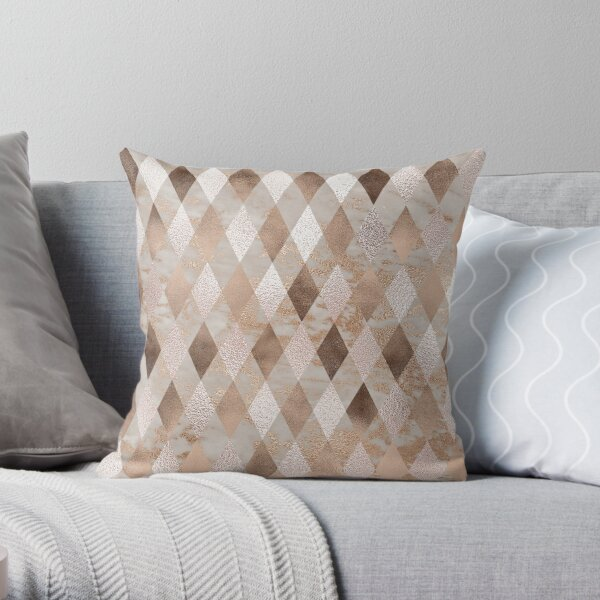 Small Copper and Blush Rose Gold Marble Argyle Throw Pillow