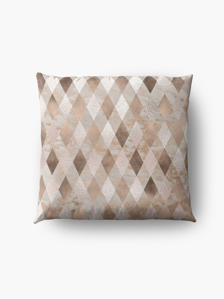 Alternate view of Small Copper and Blush Rose Gold Marble Argyle Floor Pillow