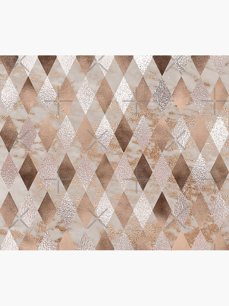 Small Copper and Blush Rose Gold Marble Argyle by UtArt