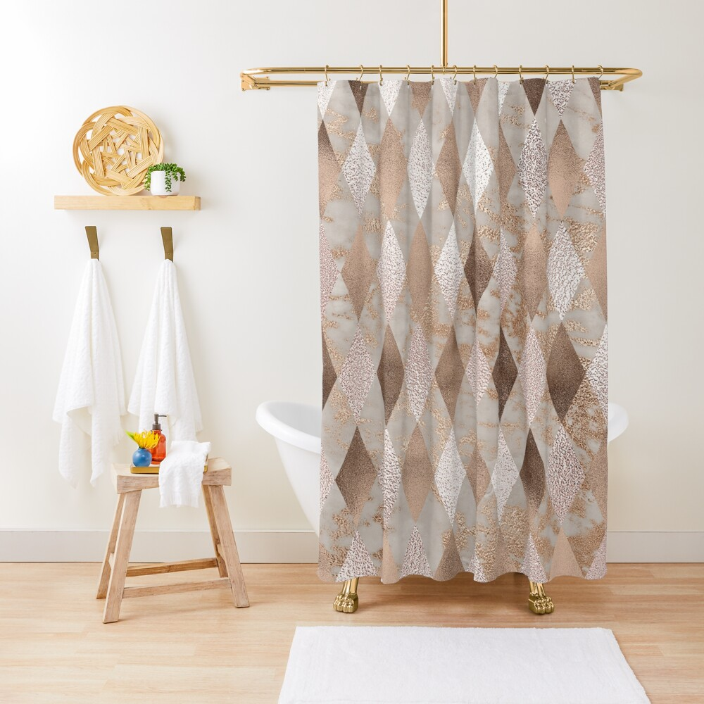 Small Copper and Blush Rose Gold Marble Argyle Shower Curtain